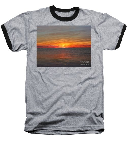 Jersey Shore Sunset Hdr Baseball T-Shirt