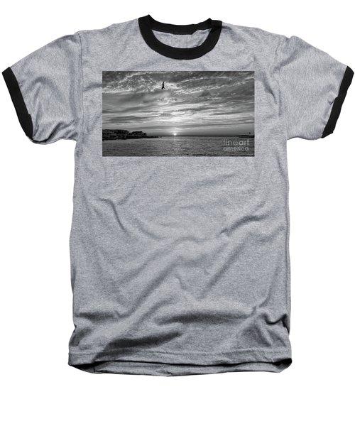 Jersey Shore Sunset In Black And White Baseball T-Shirt