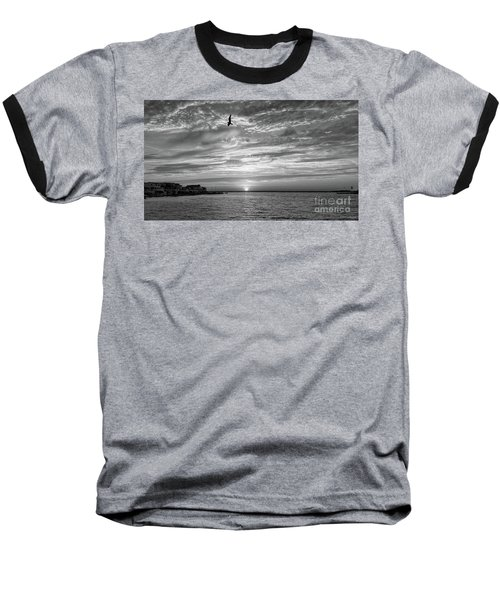 Jersey Shore Sunset In Black And White Baseball T-Shirt