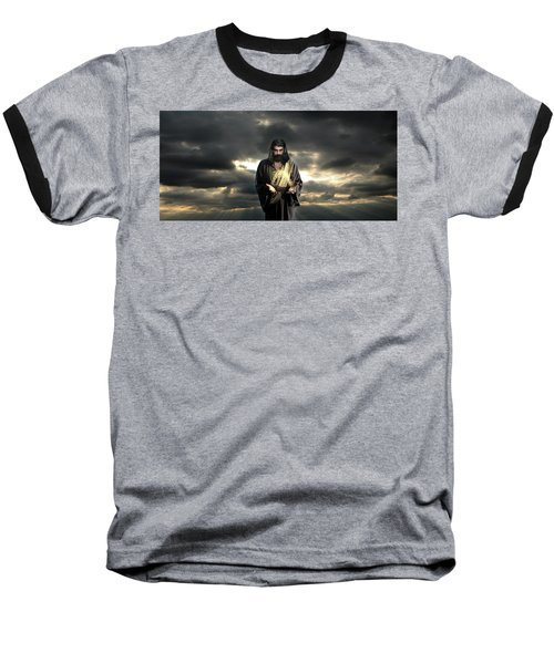 Jesus In The Clouds Baseball T-Shirt