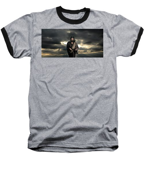 Jesus In The Clouds With Glory Baseball T-Shirt
