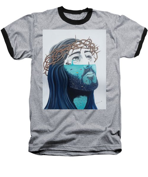 Baseball T-Shirt featuring the painting Jesus Walks On The Water by Edwin Alverio