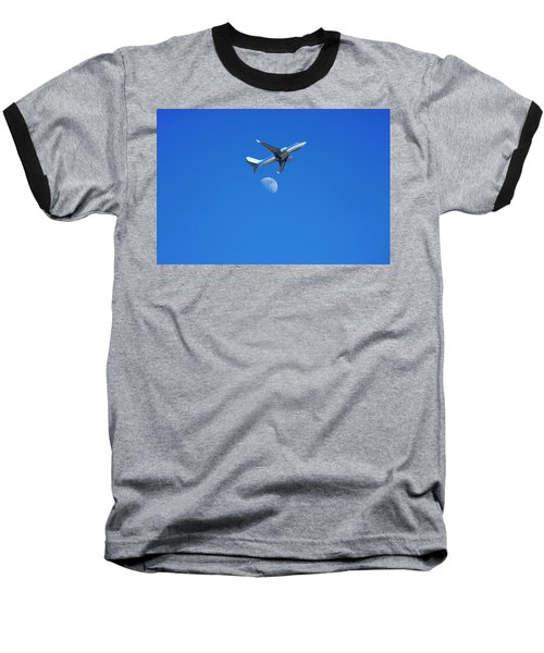 Jet Plane Flying Over The Moon Baseball T-Shirt