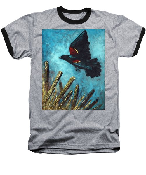 Jewel Among The Cattails Baseball T-Shirt by Suzanne McKee