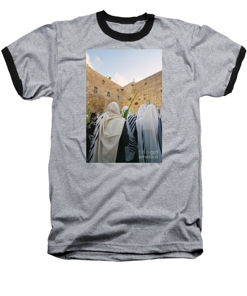 Jewish Sunrise Prayers At The Western Wall, Israel 9 Baseball T-Shirt