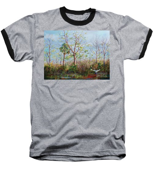 Baseball T-Shirt featuring the painting Jim Creek Lift Off by AnnaJo Vahle