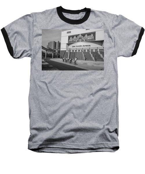 Joe Louis Arena Black And White With Bikers Baseball T-Shirt