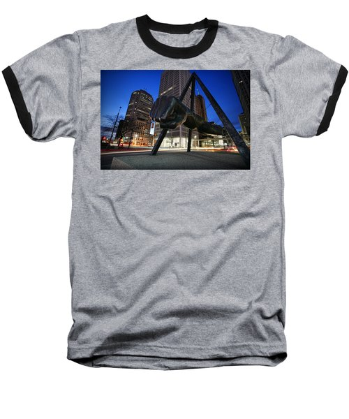 Joe Louis Fist Statue Jefferson And Woodward Ave. Detroit Michigan Baseball T-Shirt by Gordon Dean II
