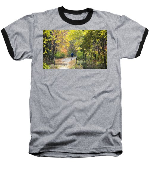 Jogger On Nature Trail In Autumn Baseball T-Shirt
