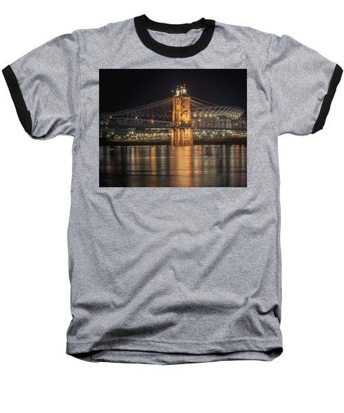 John A. Roebling Suspension Bridge Baseball T-Shirt by Scott Meyer