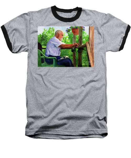 John Cleaning The Rifle Baseball T-Shirt by Donna Walsh