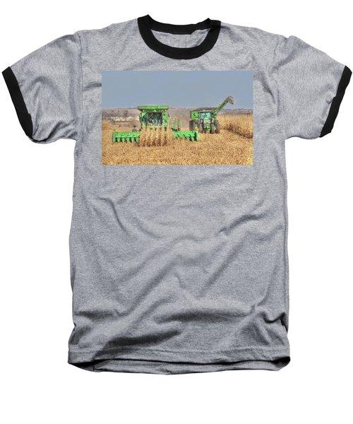 John Deere Combine Picking Corn Followed By Tractor And Grain Cart Baseball T-Shirt