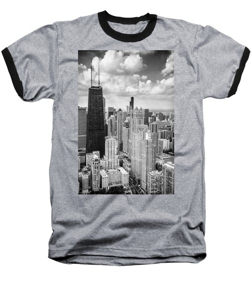 John Hancock Building In The Gold Coast Black And White Baseball T-Shirt by Adam Romanowicz