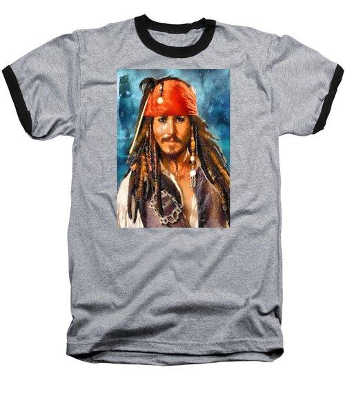 Johnny Depp As Jack Sparrow Baseball T-Shirt