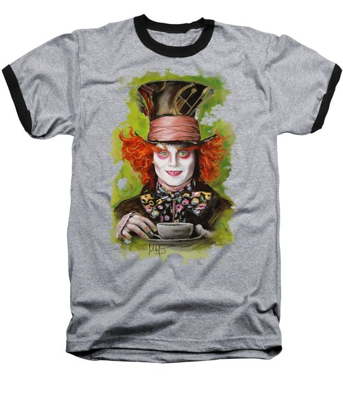 Johnny Depp As Mad Hatter Baseball T-Shirt by Melanie D