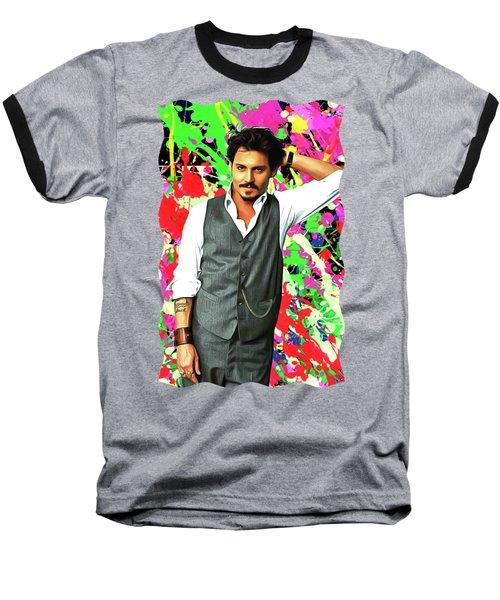 Johnny Depp - Celebrity Art Baseball T-Shirt