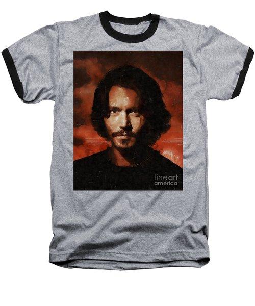 Johnny Depp, Hollywood Legend By Mary Bassett Baseball T-Shirt by Mary Bassett