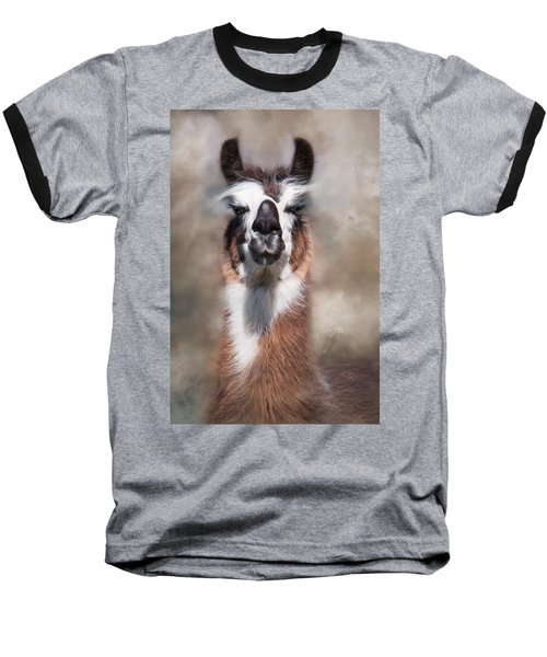Baseball T-Shirt featuring the photograph Jolly Llama by Robin-Lee Vieira