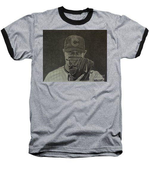 Jon Lester Portrait Baseball T-Shirt by Melissa Goodrich