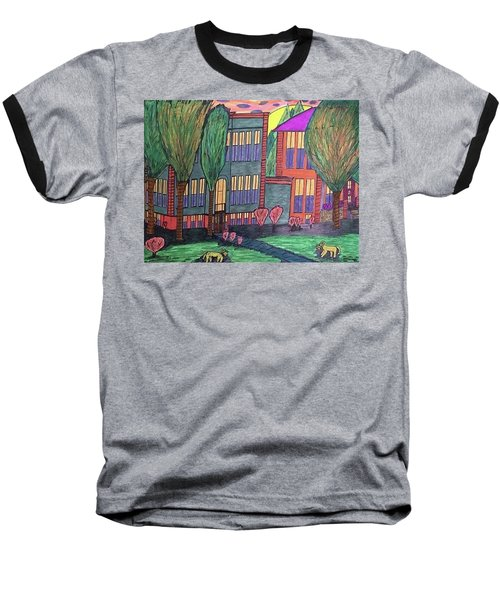 Baseball T-Shirt featuring the drawing Jordan College West Drive Menominee by Jonathon Hansen