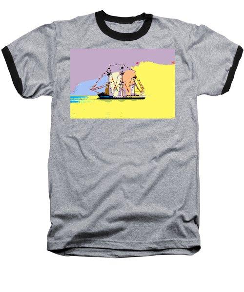 Baseball T-Shirt featuring the painting Jose Gasparilla Sailing Colorful Tampa Bay by David Lee Thompson