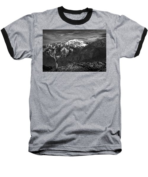 Baseball T-Shirt featuring the photograph Joshua Tree At Keys View In Black And White by Randall Nyhof