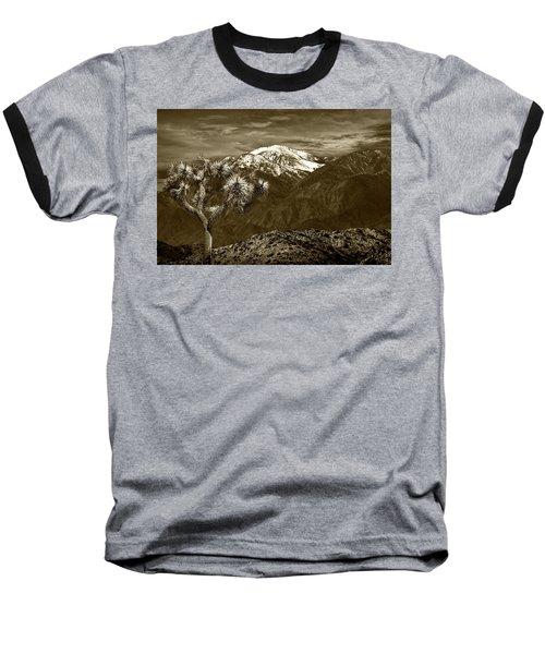 Baseball T-Shirt featuring the photograph Joshua Tree At Keys View In Sepia Tone by Randall Nyhof