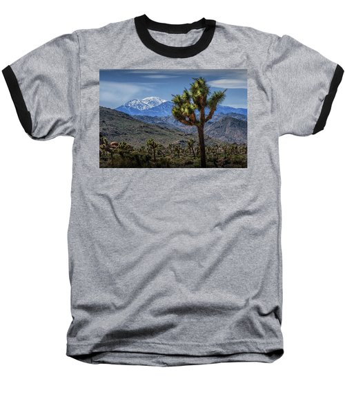 Baseball T-Shirt featuring the photograph Joshua Tree In Joshua Park National Park With The Little San Bernardino Mountains In The Background by Randall Nyhof