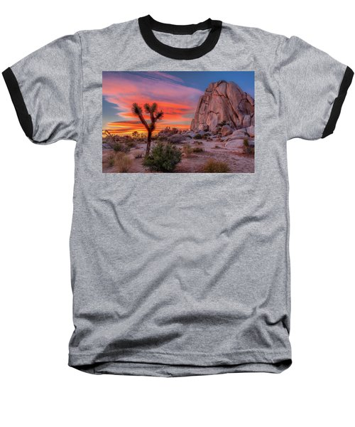 Joshua Tree Sunset Baseball T-Shirt by Peter Tellone