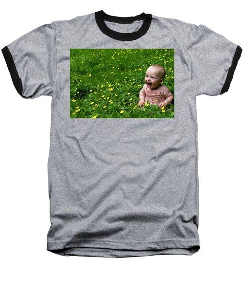 Joyful Baby In Flowers Baseball T-Shirt