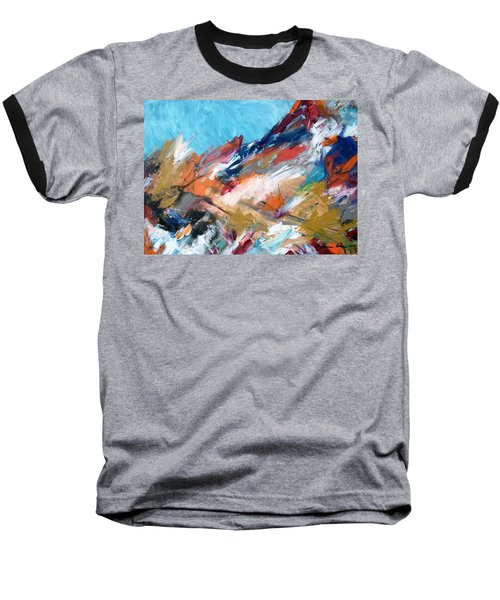 Judean Hill Abstract Baseball T-Shirt by Esther Newman-Cohen