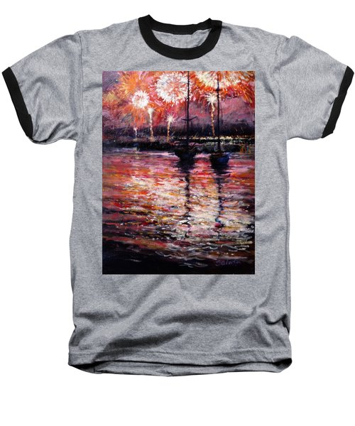 July Fourth Fireworks On The Hudson Baseball T-Shirt