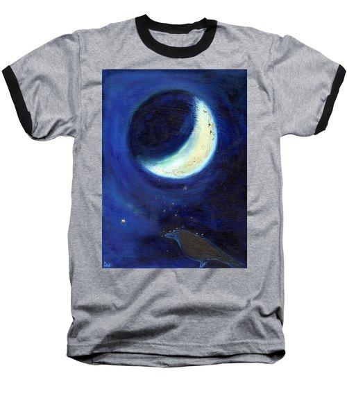 July Moon Baseball T-Shirt by Nancy Moniz
