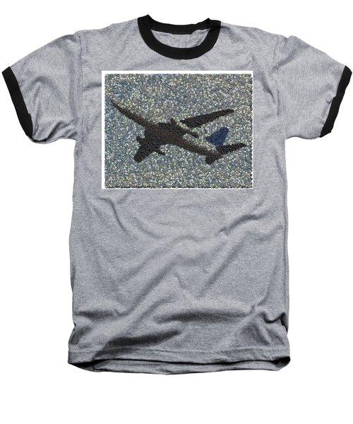 Baseball T-Shirt featuring the mixed media Jumbo Jet Airplane Made Of Cockpit Panel Dials Mosaic by Paul Van Scott