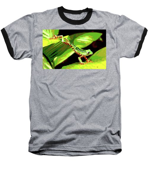 Baseball T-Shirt featuring the mixed media Jumping Frog by Charles Shoup