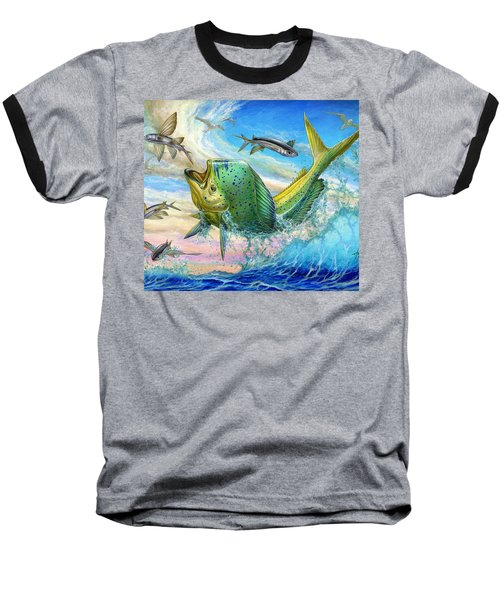 Jumping Mahi Mahi And Flyingfish Baseball T-Shirt