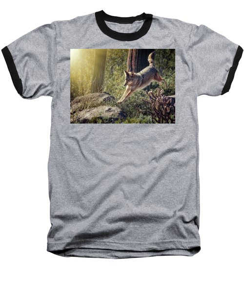 Jumping Rocks Baseball T-Shirt by Elaine Malott