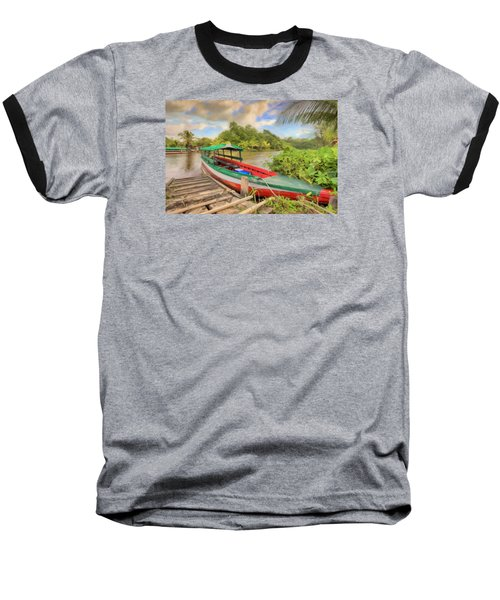 Jungle Boat Baseball T-Shirt by Nadia Sanowar