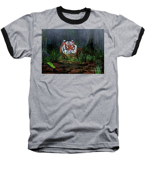 Baseball T-Shirt featuring the painting Jungle Cat by Myrna Walsh