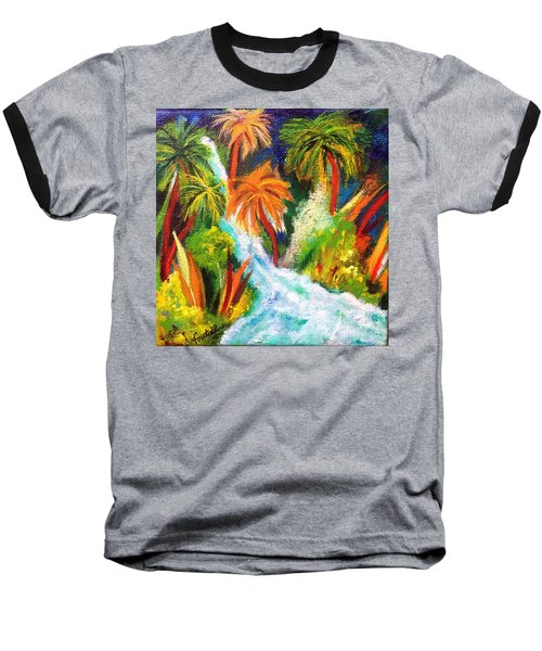 Baseball T-Shirt featuring the painting Jungle Falls by Elizabeth Fontaine-Barr