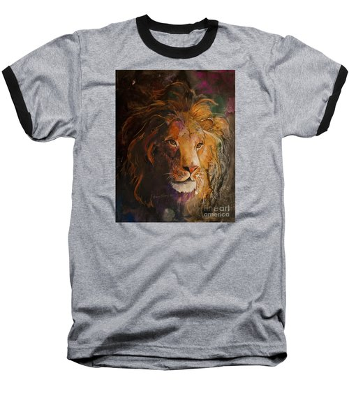 Baseball T-Shirt featuring the painting Jungle Lion by Sherry Shipley