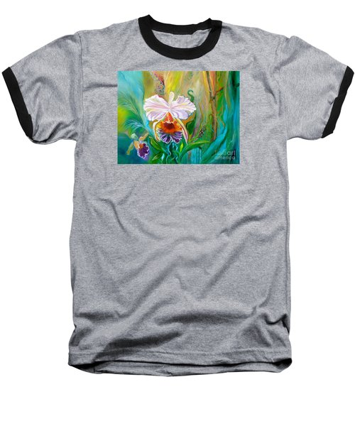 Jungle Orchid Baseball T-Shirt by Jenny Lee