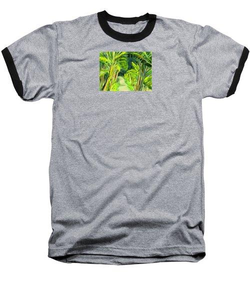 Baseball T-Shirt featuring the digital art Jungle Path by Jean Pacheco Ravinski