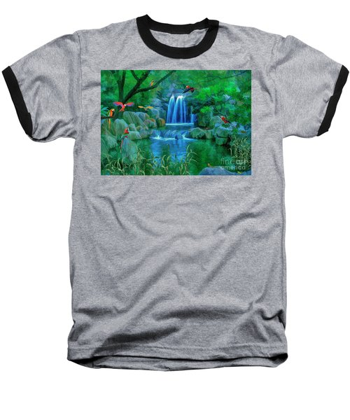 Jungle Water Falls And Parrots Baseball T-Shirt