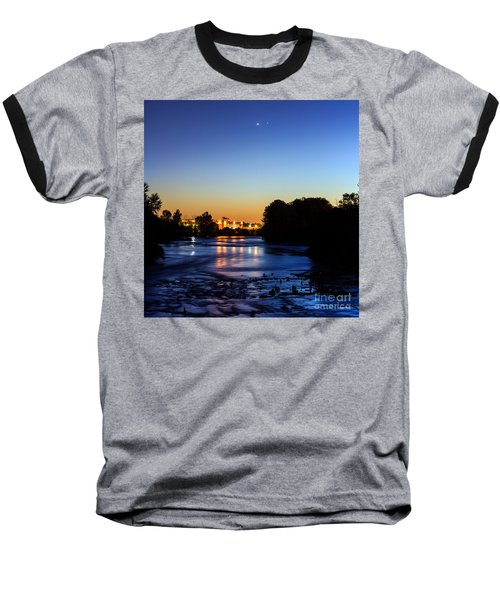 Jupiter And Venus Over The Willamette River In Eugene Oregon Baseball T-Shirt