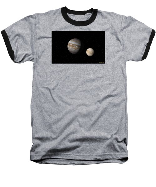 Baseball T-Shirt featuring the digital art Jupiter With Io And Europa by David Robinson