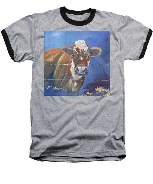 Baseball T-Shirt featuring the painting Just A Big Happy Cow On A Little Square Canvas by Jan Dappen
