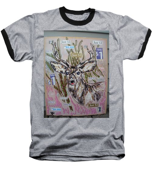 Baseball T-Shirt featuring the painting Just A Buck by Lisa Piper