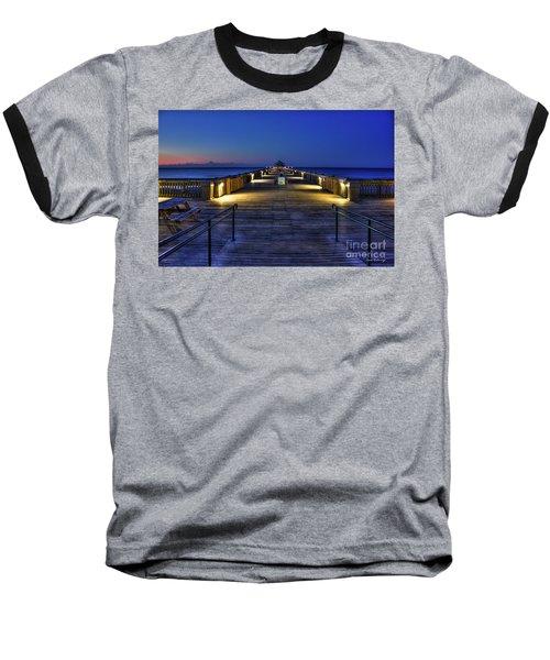 Baseball T-Shirt featuring the photograph Just Before Dawn Folly Beach Pier Charleston Sc Sunrise Art by Reid Callaway