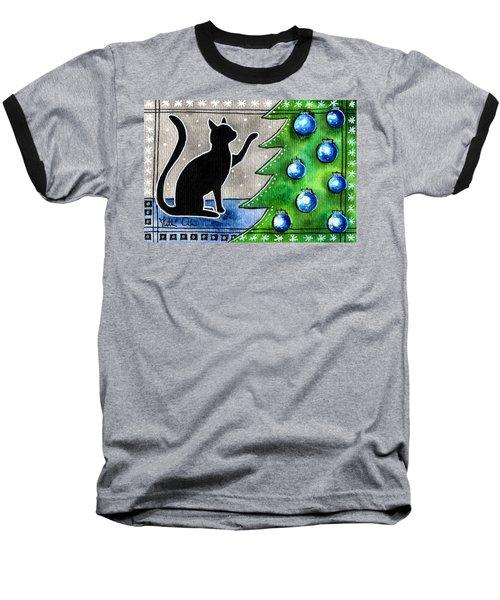 Just Counting Balls - Christmas Cat Baseball T-Shirt